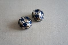 Vintage Lanvin Earrings | Silver Clip-on Earrings in Houndstooth Plaid on Etsy, $75.00