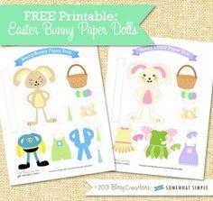Easter Bunnies paper dolls - free printable! So fun!