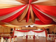 decoracion con telas para fiestas (3) Tent Wedding, Wedding Chairs, Wedding Reception, Wedding Ideas, Church Wedding Decorations, Chinese New Year, Event Decor, Altar, Valance Curtains