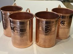 4-pack - 16 oz. Moscow Mule Hammered Copper Mug, handcrafted 100% pure copper with Colorado Flag logo. These pure copper mugs from 100% reclaimed copper are the perfect mug for an authentic classic moscow mule drink. These are also perfect for any other c
