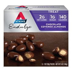 Very Low Sugar Very Low Carbs Atkins Endulge Chocolate Covered Almonds are made with real roasted almonds dipped in rich chocolate. Atkins Endulge Low Carb Chocolate Covered Almonds are a decadent treat that satisfies your sweet tooth. Chocolate Walnut Cookies Recipe, Walnut Cookie Recipes, Chocolate Covered Almonds, Chocolate Peanuts, Peanut Candy, Calories In Sugar, Low Carbohydrate Diet, Roasted Almonds, Keto Snacks