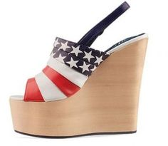 American Flag wedges... Because terrible shoes just scream patriotism