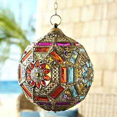 Gypsy Gem Fortune Ball Hanging Lantern from Go Get Glam. Saved to Bohemian Home. Gypsy Decor, Bohemian Gypsy, Gypsy Style, Bohemian Decor, Hanging Lanterns, Candle Lanterns, Boho Dekor, Moroccan Decor, Metal Art