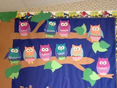 Birthday Bulletin Board: Looks Whoooo's Having a Birthday!  One Owl for each month.  Write child's name and date on the correct month