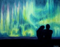 Aurora Borealis Northern Lights, Colorful Couple Night Sky Romantic Landscape Painting, Abstract Painting - Original Oil Painting on Canvas