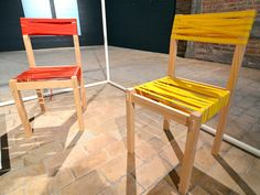 Tight, Shipping Strap Chair, Wouter Defrancq, Wouter Defrancq's no-screw, no-glue Tight chair is held together by utilitarian cargo straps that create a cushy seat and backrest. interiors, green products, sustainable products, ventura interieur, biennale interieur