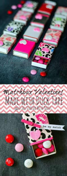 Matchbox candy boxes for Valentine's Day with tutorial!