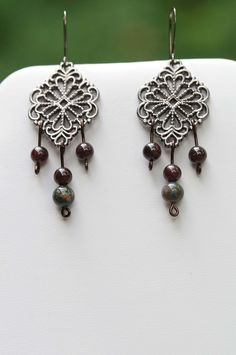 Red Garnet and Indian Bloodstone Earrings $28