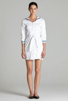 white sailor cotton dress