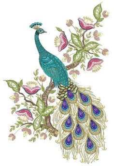 "Jacobean Embroidery Patterns | Hatched in Africa - Jacobean Jewels Peacock 5"" x 7"" by Santi"