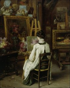In the Artist's Studio - Eugene Claude (french painter) Art Themes, Oeuvre D'art, Art Studios, Artist At Work, Female Art, Art Museum, Art History, Amazing Art, Illustration Art