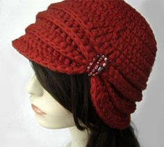 Vintage Inspired Cloche Hat with Glass Beading- Rust Red - Ready to Ship