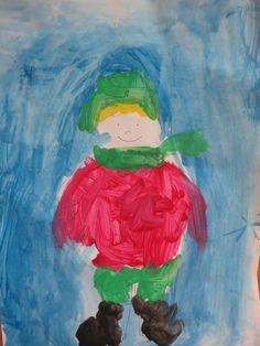Зимно човече - свободно рисуване с пастели и водни бои *** Winter Boy:) Crayons and Liquid Color
