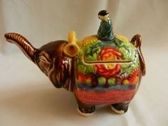 Oriental elephant teapot vintage ceramic, man figurine, colorful elephant raised trunk, perfect asian collectible mom gift...