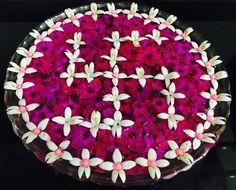 Beautiful Swastik floating flower rangoli Rangoli Designs Flower, Rangoli Ideas, Rangoli Designs Diwali, Rangoli Designs Images, Diwali Rangoli, Ganesha Rangoli, Thali Decoration Ideas, Diwali Decorations, Festival Decorations