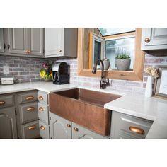 "Sinkology Adam 33"" L x 22"" W Farmhouse/Apron Kitchen Sink & Reviews | Wayfair Copper Farmhouse Sinks, Farmhouse Sink Kitchen, New Kitchen, Kitchen Cabinets, Kitchen Ideas, Farmhouse Decor, Green Kitchen, Kitchen Trends, Easy Kitchen Updates"