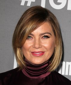 Ellen Pompeo Bob Hairstyle - Medium Straight Casual - Dark Blonde