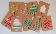Basteln mit Kindern: Aus Stoffresten könnt ihr zusammen mit euren Kindern farbenfrohe Weihnachtskarten basteln und anderen eine Freude schicken.