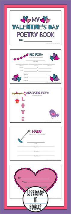 Valentine's Day poetry booklet. Bio, haiku, and acrostic poem templates to write and give to someone special for Valentine's Day. #valentinesday #Poetry