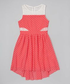 Look at this Coral & White Polka Dot Dress - Girls on #zulily today!