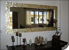 005 Yellow Lip Mother of Pearl Wall Mirror by Shellshock Designs - fabulous!