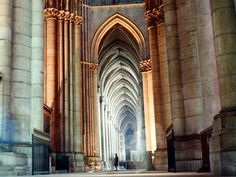 This is a picture of the pointed arches of the Gothic Cathedral Notre-Dame de Reims in Reims, France.