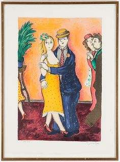 Lennart Jirlow: Dansande par, 1989, färglitografi, 54,7x37,8 cm, edition 89/310 - Bukowskis Market 4/2016