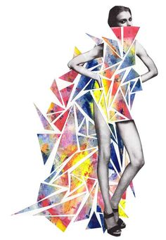 Colorful Illustrations and Collages by Niky Roehreke. Digital collage, modern look, common use of triangles though Art And Illustration, Fashion Illustration Collage, Fashion Collage, Fashion Art, Trendy Fashion, Fashion Illustrations, Mode Collage, Collage Art, Digital Collage