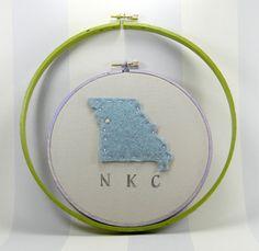 North Kansas City Missouri Map, Felted Embroidery Hoop Art.