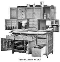 The mother of all Hoosier Cabinets! 1908 Hoosier Cabinet Catalog Many Models Primitive Kitchen, Old Kitchen, Kitchen Cupboards, Vintage Kitchen, Antique Hoosier Cabinet, Up House, Tiny House, Home Kitchens, French Kitchens