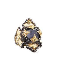 Hematite & Diamond Iris Scroll Ring by Armenta at Neiman Marcus Last Call.