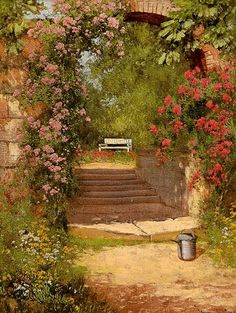 Landscape Painting by Laszlo Neogrady (1900-1962) Hungarian Artist