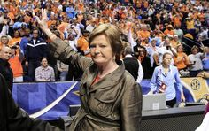 """Sad day for Lady Vols fans. :( Your legacy will live on, Pat. In this March 4, 2012, file photo, Tennessee head coach Pat Summitt waves to the fans after Tennessee defeated LSU 70-58 in the championship game at the women's Southeastern Conference tournament in Nashville, Tenn. Summitt, the sport's winningest coach, is stepping aside as Tennessee's women's basketball coach and taking the title of """"head coach emeritus"""", the university announced Wednesday, April 18, 2012. (AP..."""