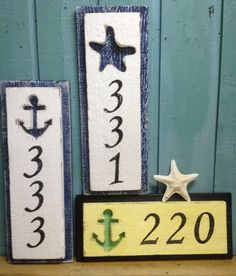 House Number Address Sign Beach Lake House Nautical by CastawaysHall - 3 Numbers Digits Lake Decor, Coastal Decor, Haus Am See, Cute House, Lake Cottage, Beach Signs, House Numbers, Beach House Decor, Home Signs