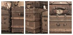 Trio of Vintage Luggage and Stream Trunk