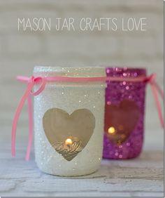 Valentine Glitter Votives - Mason Jar Crafts Love