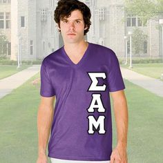 Sigma Alpha Mu V-Neck T-Shirt - Vertical - American Apparel 2456