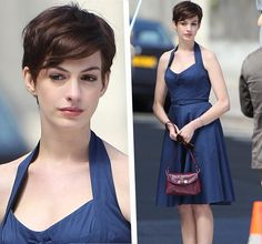 I was a bit skeptical when I heard she cut her hair. Now, I'm pretty sure she would look good even bald. Anne Hathaway.
