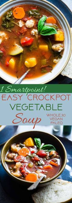 Easy Homemade Crockpot Vegetable Soup - Let the crockpot do the work for you with this simple soup that is a whole30, paleo and vegan dinner with only 1 SmartPoint and 85 calories! A family friendly dinner for busy weeknights that will please the pickiest of eaters!   Foodfaithfitness.com   @FoodFaithFit   Crockpot Vegetable Soup No meat. Vegan vegetable soup. healthy vegetable soup. weight watchers vegetable soup. paleo vegetable soup