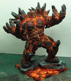 James Wappel Miniature Painting: Painting with fire... the Golem continues. Using fluo paints, step by step.