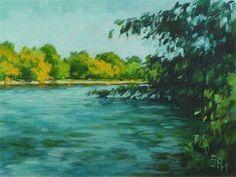 """Daily+Paintworks+-+""""Island+Park+Shoreline""""+-+Original+Fine+Art+for+Sale+-+©+Suzanne+Poursine-Massion"""