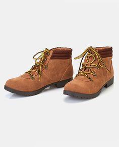 "<p>A pair of work boots featuring a faux suede upper, a lace-up front with metal eyelets, contrast laces, and a lightly padded cuff for a comfy fit.</p>  <ul> <li>4"" Shaft</li> <li>1"" Heel</li> <li>Lace-up Closure</li> <li>Lightly Padded Footbed</li> <li>Tread Sole</li> <li>Man Made Materials / Metal</li> <li>Imported</li> </ul>"