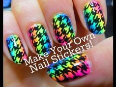 Neon Rainbow Houndstooth Party Nail Art Tutorial - DIY Nail Stickers