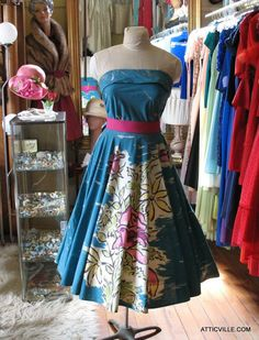 1950s Turquoise 2 piece... from The Attic Vintage Clothing.