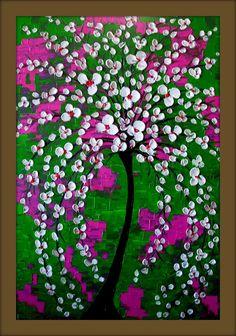 White Tree Painting Textured Original by DistinctiveModernArt, $188.00