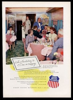 1956 Union Pacific Railroad Astra Dome train dining car photo vintage print ad in Collectibles, Transportation, Railroadiana & Trains | eBay