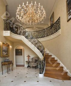 Have you been looking for new staircase backdrop designs? They are finally here! Get yours today! Luxury Staircase, New Staircase, Curved Staircase, Modern Staircase, Staircase Design, Staircases, Tuscan Design, Foyer Decorating, Decorating Ideas