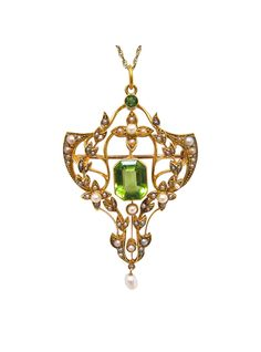 Art Nouveau 15K Gold, Peridot, and Seed Pearl Pendant or Brooch | The HighBoy | blog.thehighboy.com