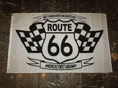 3X5 Get Your Kicks On Highway Route Rte 66 White Flag 3'X5' Banner Grommets
