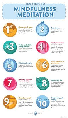 10 steps to mindfulness meditation infographic